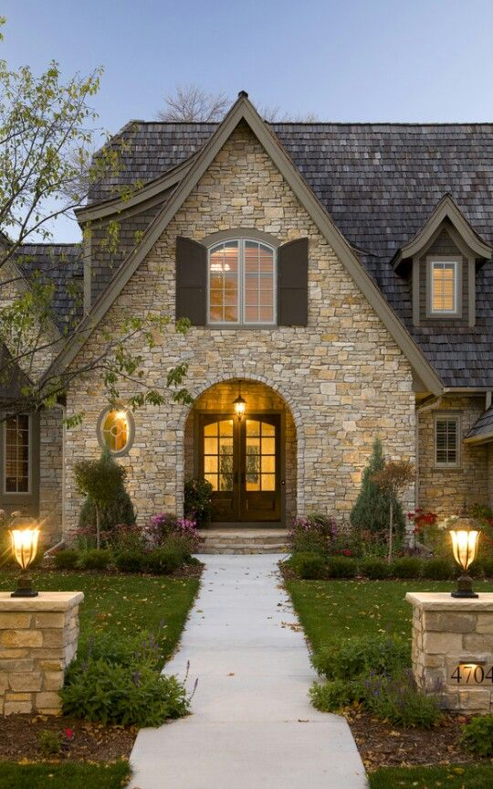 ... Exterior Photos Stone Cottage Design, Pictures, Remodel, Decor and  Ideas-this could be a cool double entrance if we ever did a duplex/condo  style house.