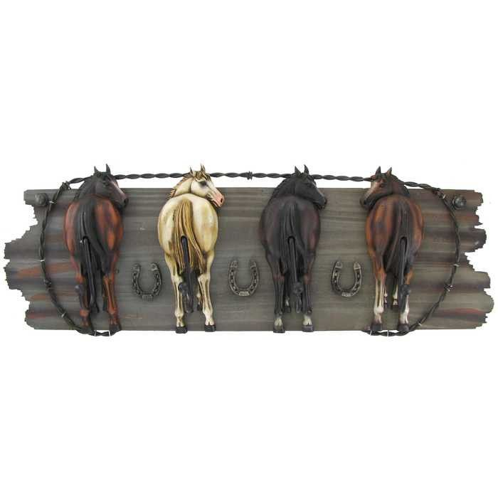 Hats Scarves Purseore With This Humorous Four Horse Hooks On Wood Plaque The And Resin Is Great For Accenting Western Themed D