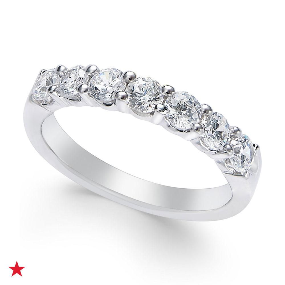 Celebrating A 10 Year Or 20 Year Wedding Anniversary Gift This Certified Diamond Seven Stone Band In Platinum Platinum Jewelry Jewelry Silver Engagement Rings