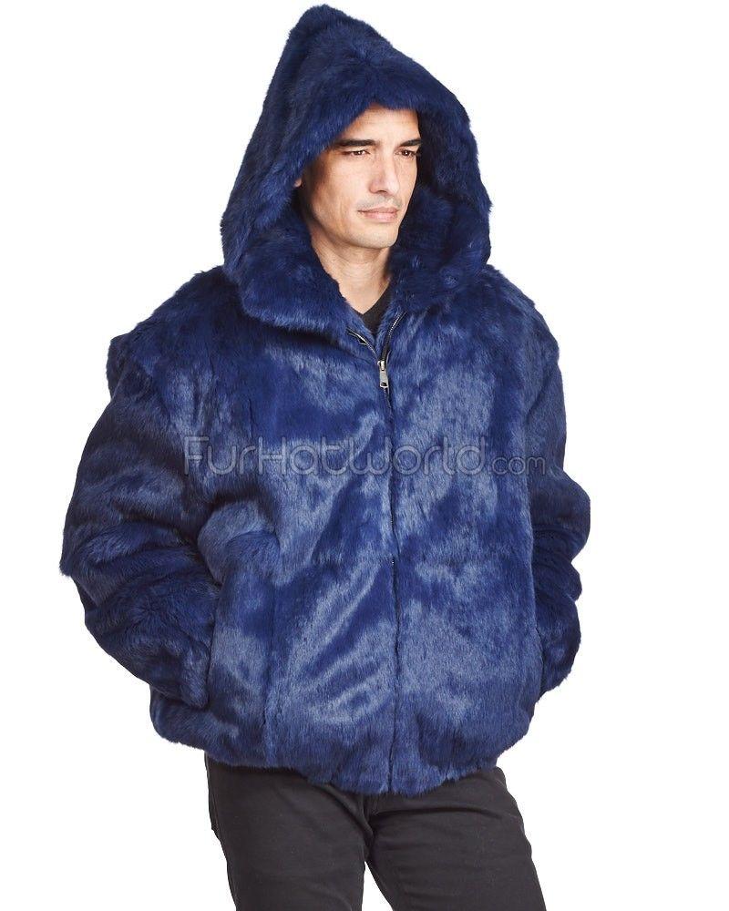 8f49840cd6bd Lucas Navy Rabbit Fur Hooded Bomber Jacket for Men   Men's fur coats ...