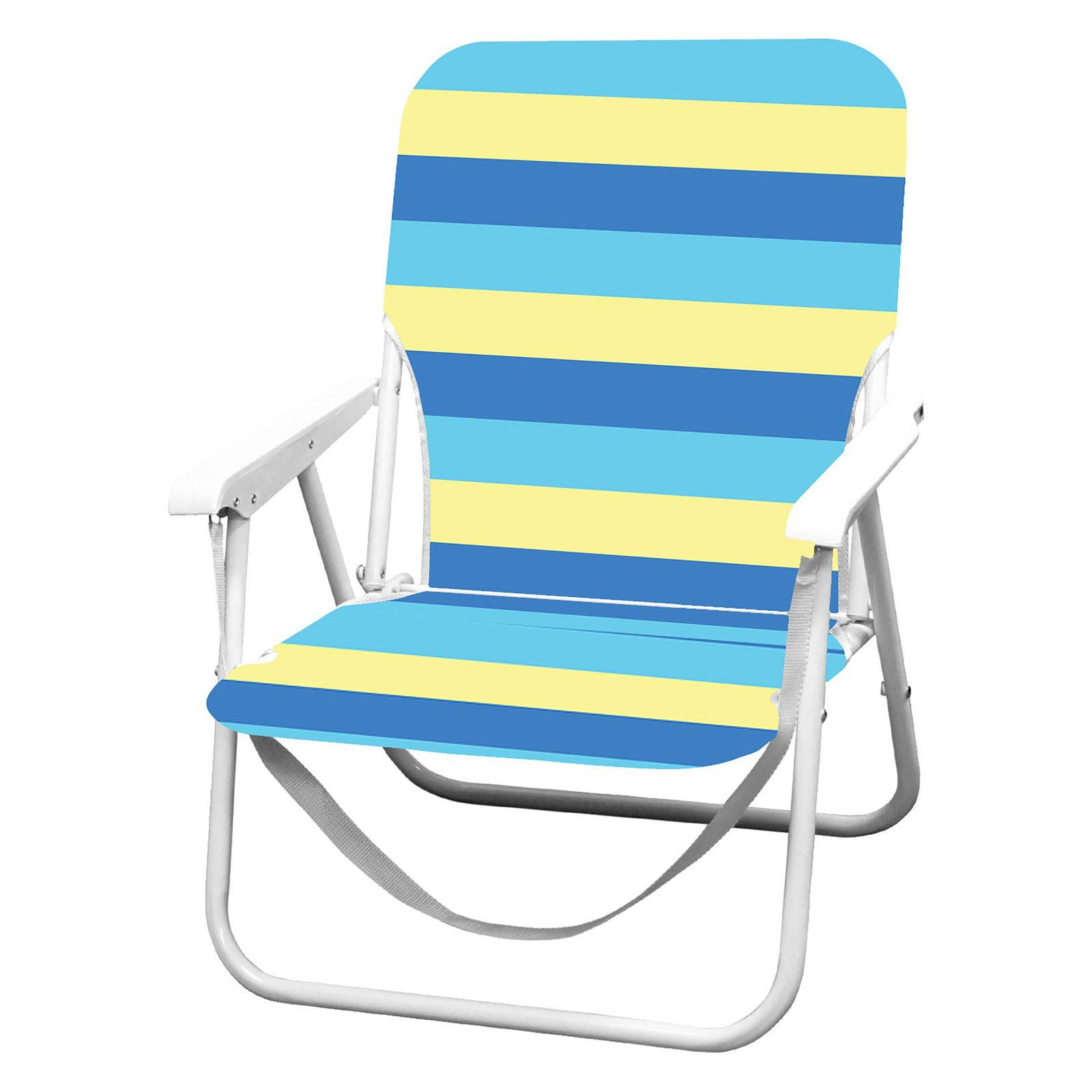 Outdoor Caribbean Joe Blue And Yellow Stripe High Beach Chair Beach Chairs Folding Beach Chair Caribbean Joe