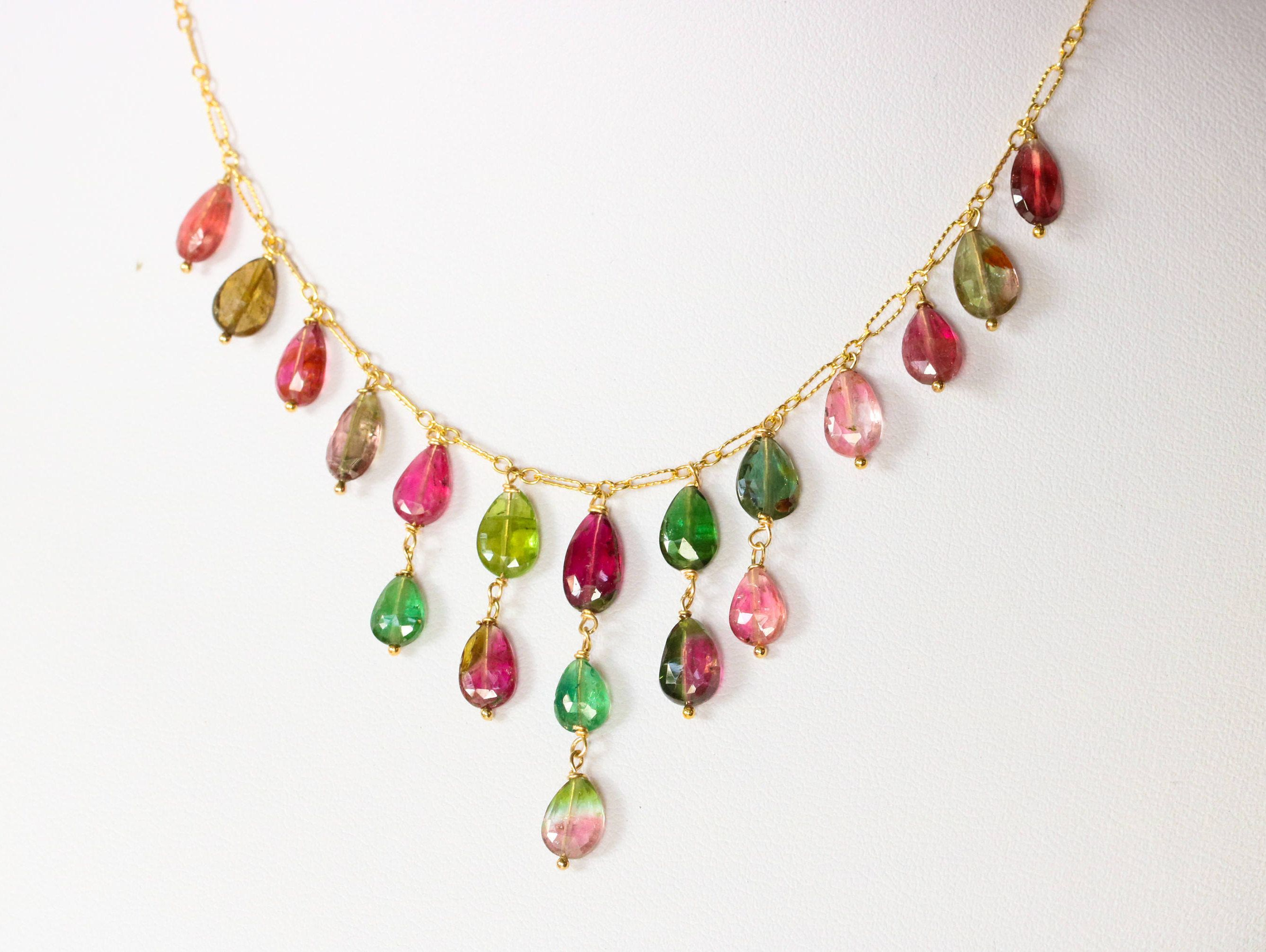 watermelon tourmaline gemstone pendant pink statement luxury bib necklace pin