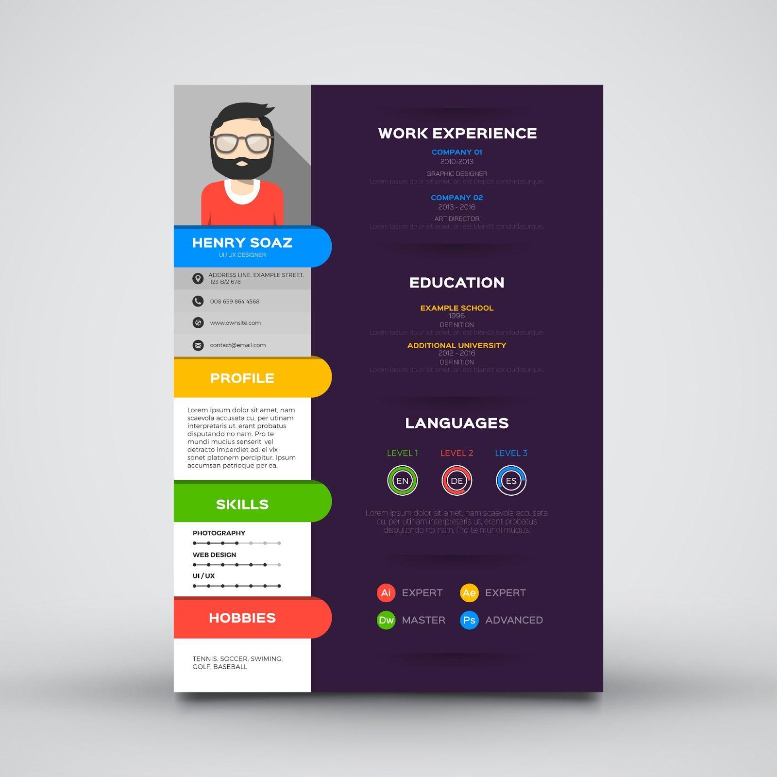 Free Download Template Cv Keren Guru Corel Desain Resume Desain Cv Template
