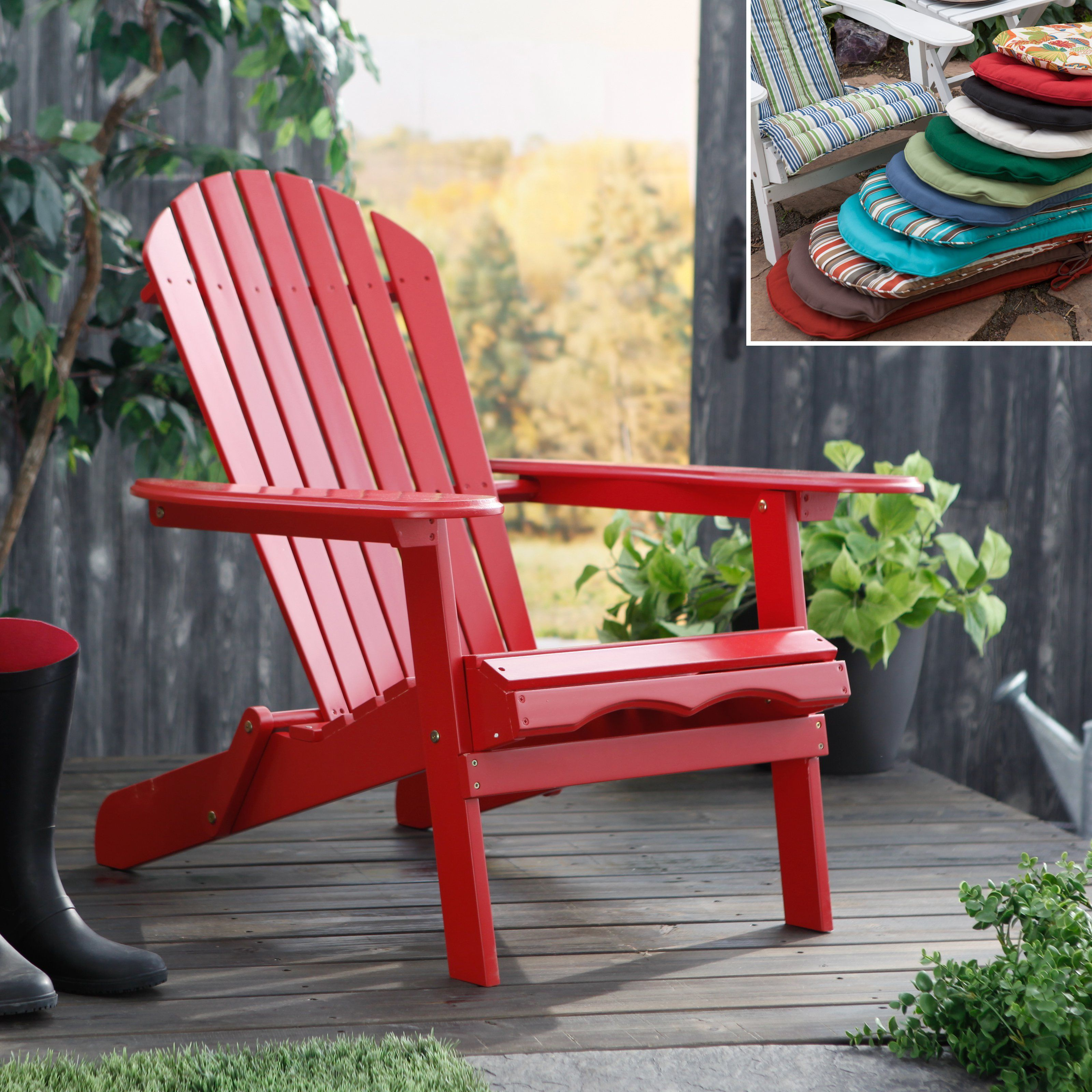 Outdoor Cape Cod Foldable Red Adirondack Chair With