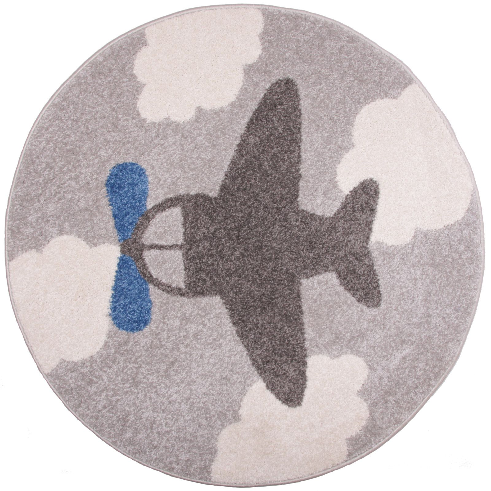 Tapis garçon Little Plane avion gris et bleu (diamètre 100 cm ...