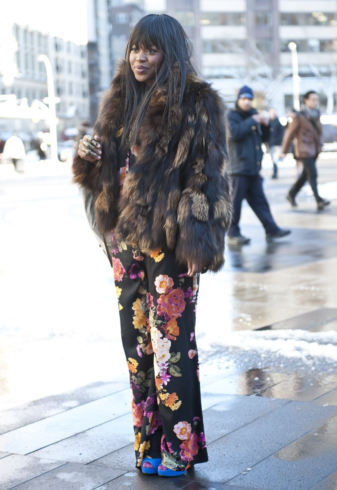 printed pants always pack a punch #nyfw #streetstyle #mbfw