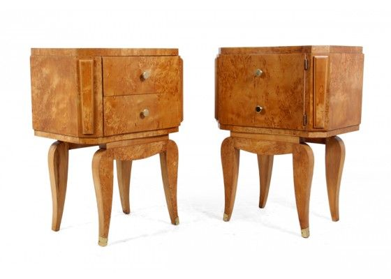 Art Deco Karelian Birch Bedside Cabinets, 1920s, Set of 2 for sale at Pamono