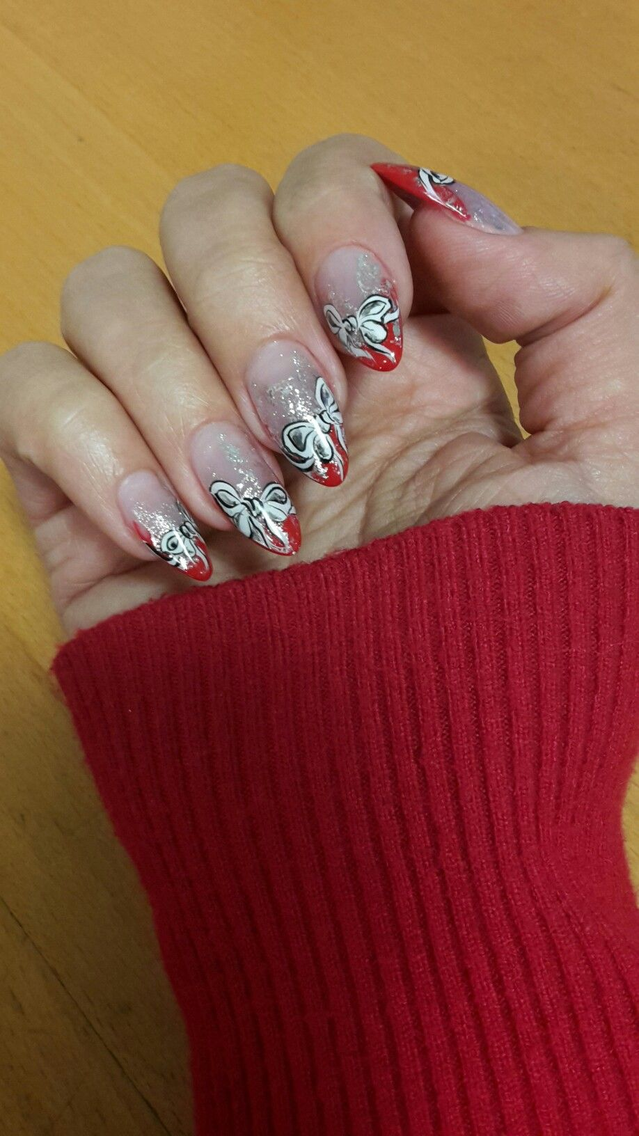 Almond Nails Red French White Bow Nail Art Silver Foil Xmas Idea