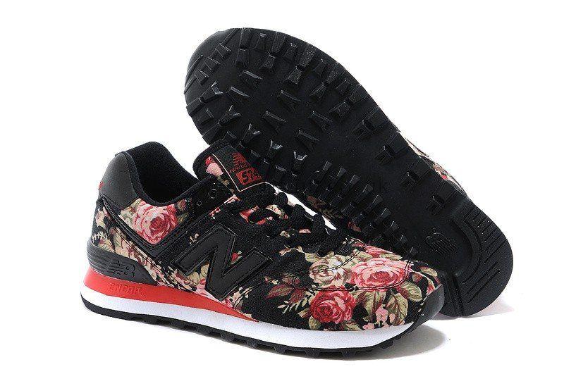 Officiele New Balance 574 Flower Women Shoes BlackRed