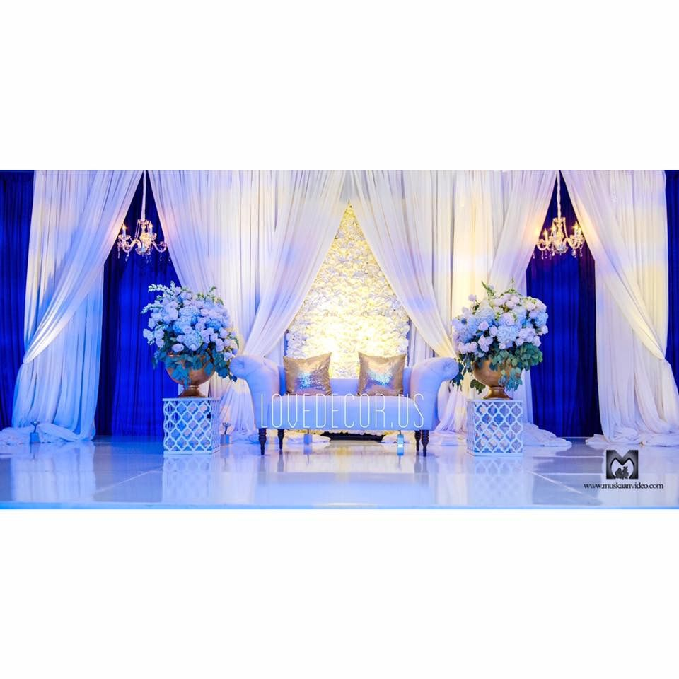 Indian Wedding Reception Backdrop Floral Wall White And Blue