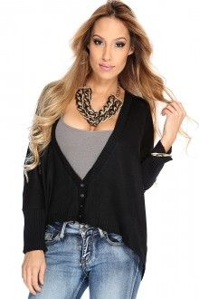 Black Button Front Over Sized Knit Cardigan Sweater