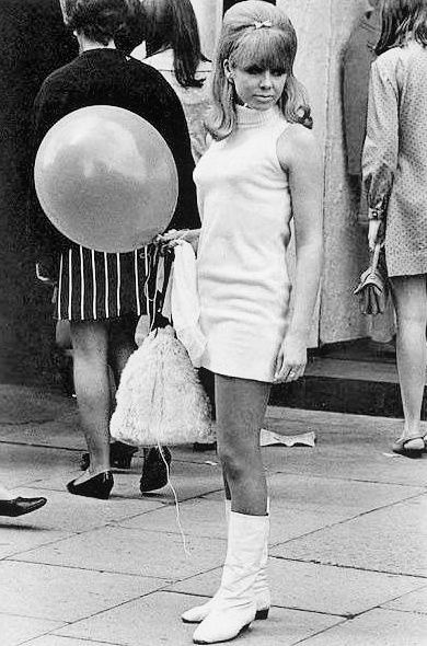60's fashion short dress and ankle boots