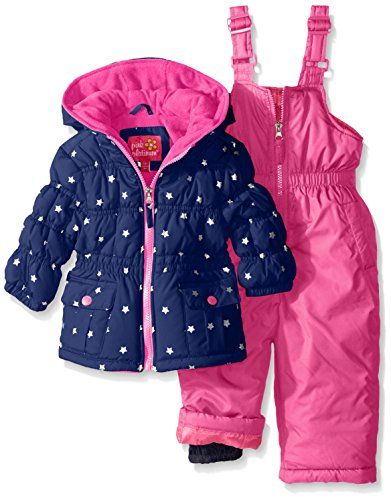 3acce465aa95 Pink Platinum Baby Girls Infant Foil Star Printed Snowsuit Navy 12 ...