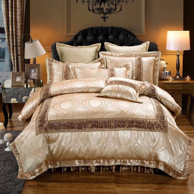 Golden Luxury Royal Jacquard Duvet Cover 6pcs Bedding Set King Amp Queen Size Home Amp Garden B Queen Size Bed Sets King Bedding Sets Queen Bedding Sets