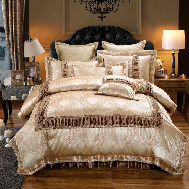 Golden Luxury Royal Jacquard Duvet Cover 6PCS Bedding Set King ... : jacquard quilt cover sets - Adamdwight.com