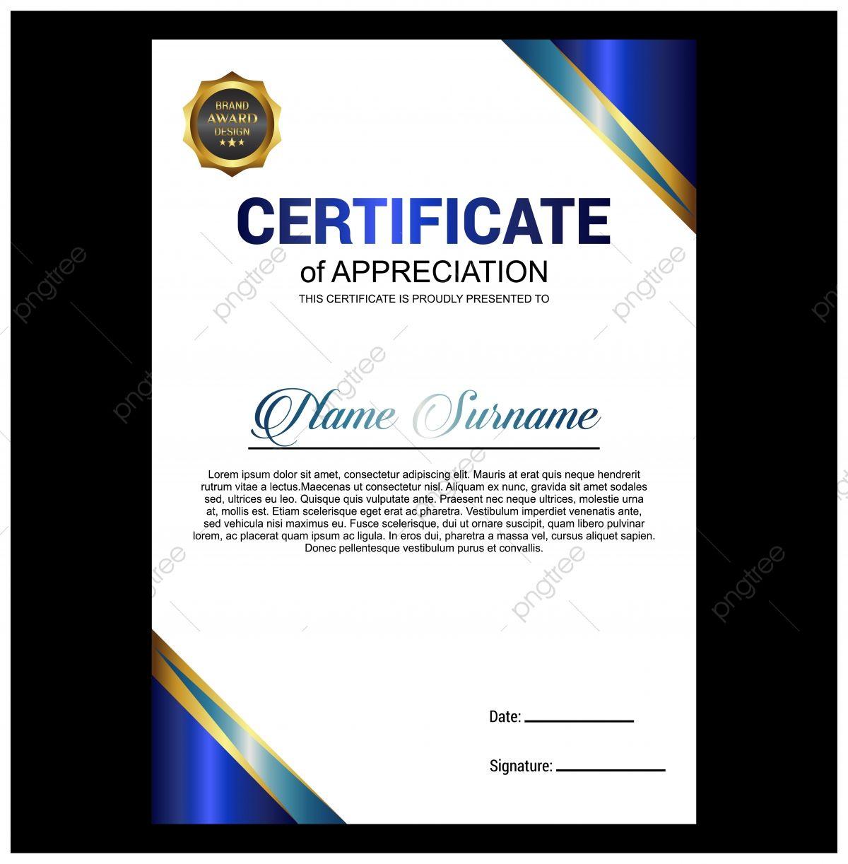 قالب شهادة تقدير إبداعية باللون الأزرق شهادة قالب التقدير Png والمتجهات للتحميل مجانا In 2021 Award Template Certificate Of Appreciation Certificate Templates Film festival award certificate template