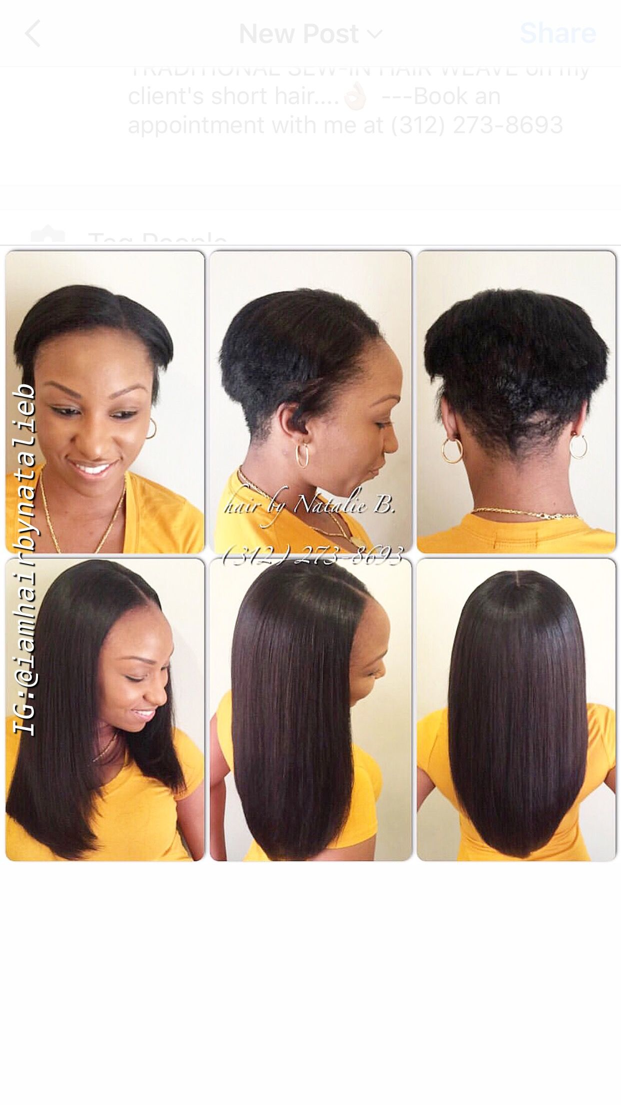 Traditional Sew In Hair Weave On My Client S Short Hair Book An Appt With Natalie B At 312 273 86 Short Sew In Hairstyles Hair Styles Sew In Hairstyles
