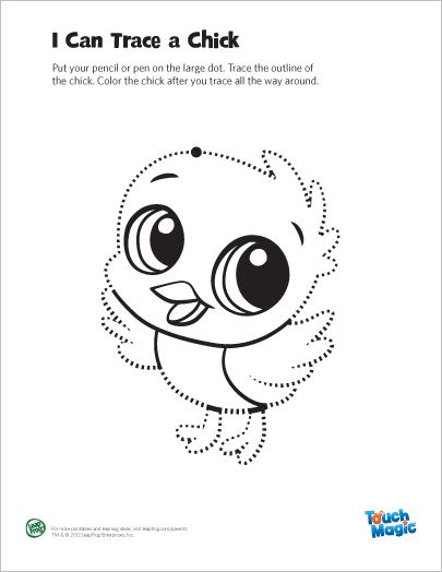 LeapFrog Printable Chick Tracing Page- Trace and color