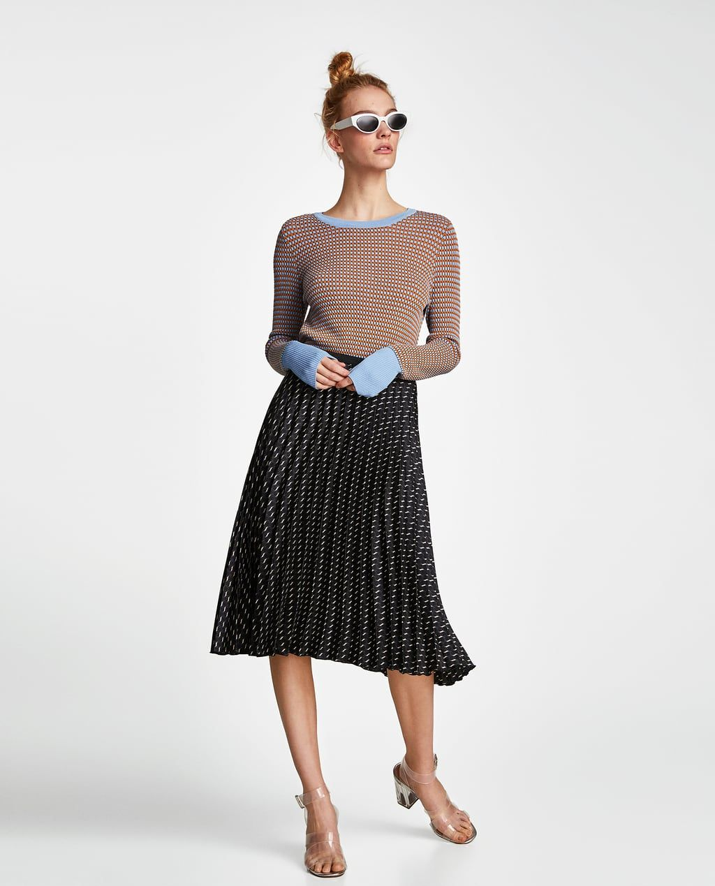 Top cu structură şi fundă | Zara Wishlist | Faldas plisadas