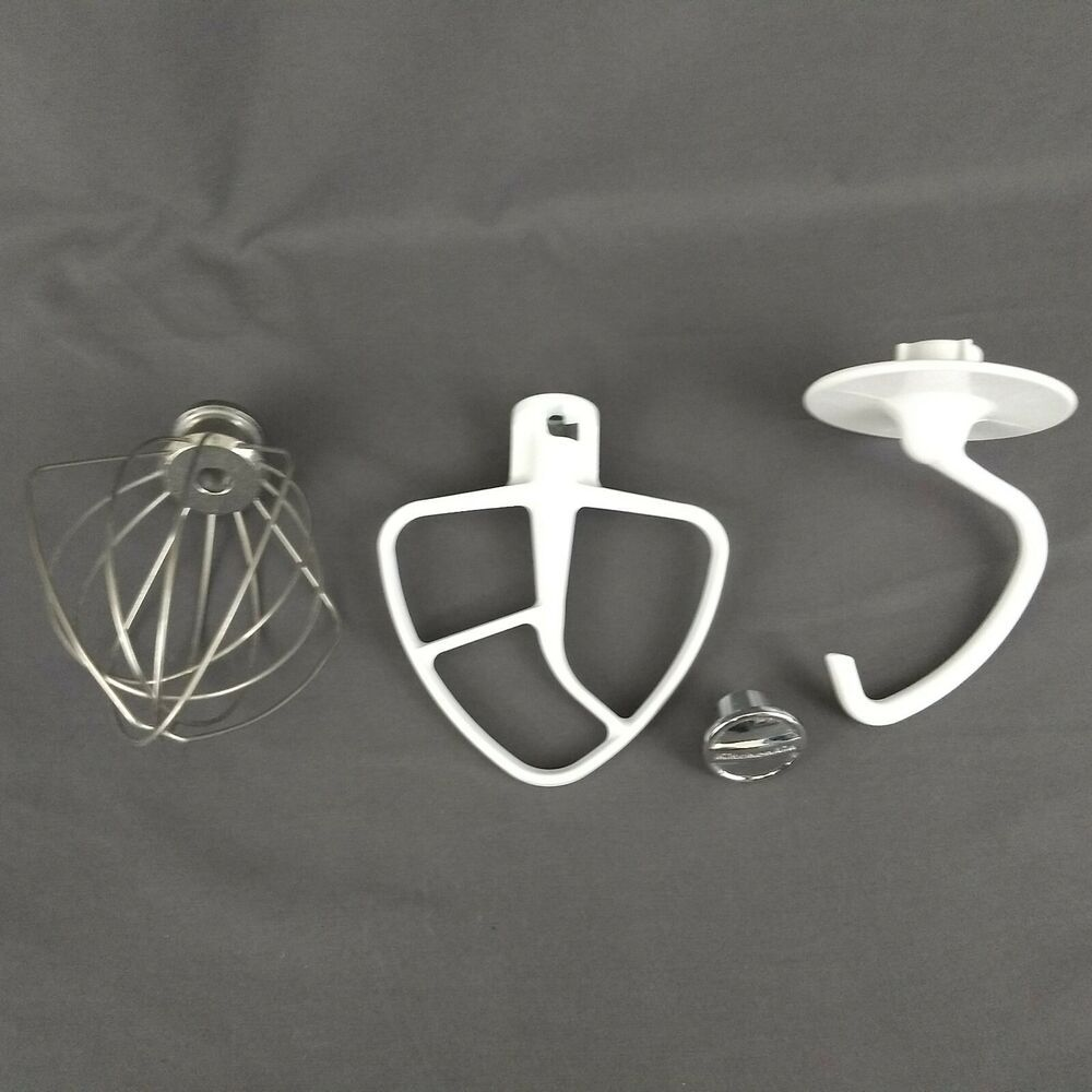 KitchenAid Stand Mixer Attachments Dough Hook Flat Beater Wire Whisk Lot Of 3