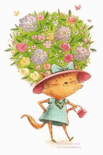 Garden hat cat