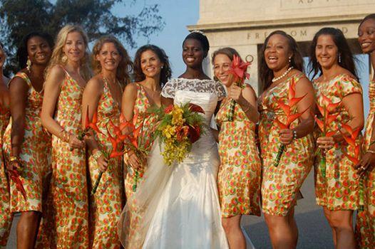 Demoiselle d 39 honneur th me afrique robe en wax mariage for Robes pour mariage tropical