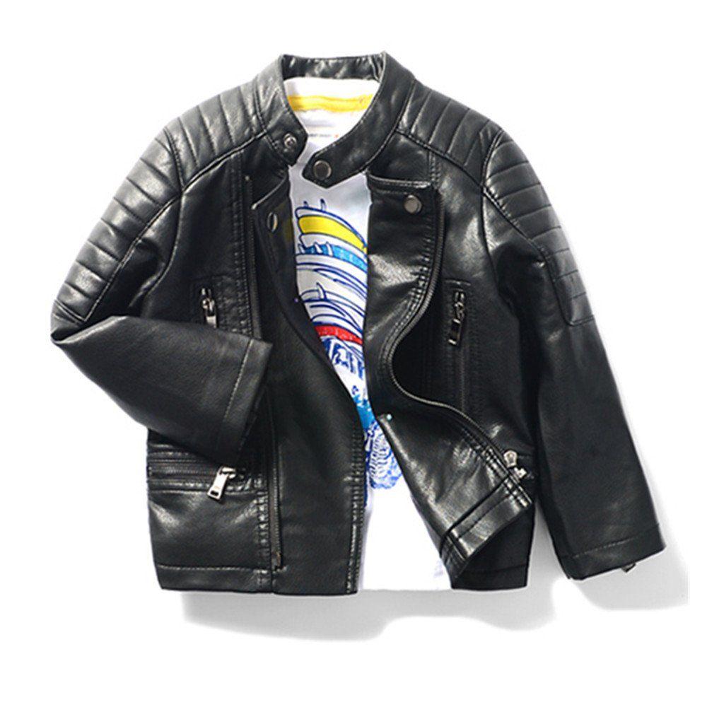 de4cafbdbb18 LJYH Boy s Multi-pocket PU Motorcycle leather Jacket 3T-14T ...