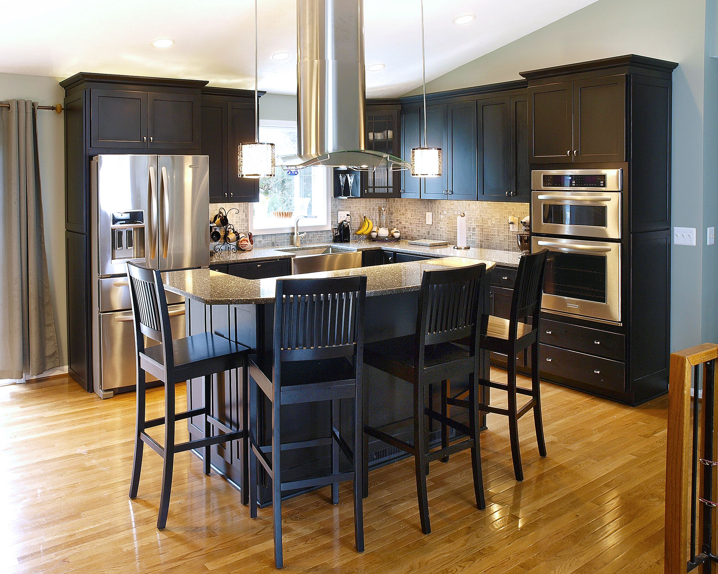 Contemporary Kitchen With Black Cabinets And Stainless Steel Appliances In Bel Air Md By Bel Ai With Images Contemporary Kitchen Renovation Kitchen Design Kitchen Remodel