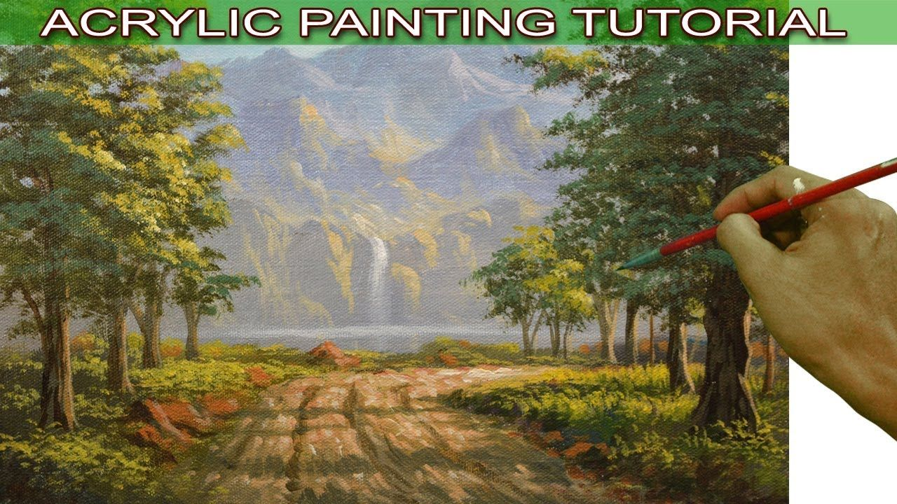 51826b211 Acrylic Landscape Painting Tutorial Road to River with Waterfalls and Tr..