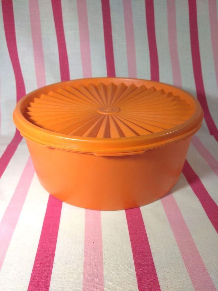 Vintage MOD Orange Tupperware Servalier Canister • Round