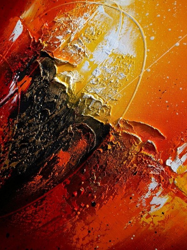 ... orange jaune doré blanc : Peintures par tableaux-abstraits-nathalie