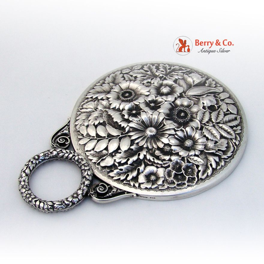 Floral Repousse Hand Mirror Sterling Silver Wood and Hughes 1900