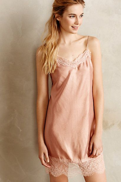 Lace Hem Silk Chemise #anthropologie