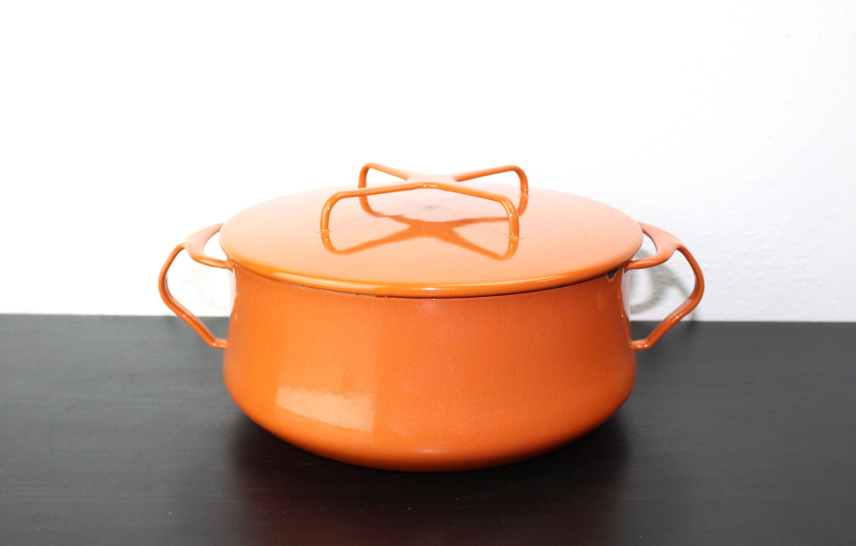 Vintage Dansk Kobenstyle 8 5 Inch Dutch Oven Orange Enameled Enamelware Enameled Steel Orange Enamel