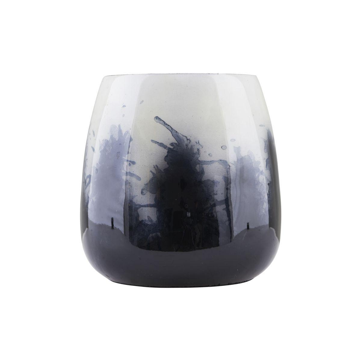 House Doctor Large Black, White & Indigo Abstract Planter - Trouva