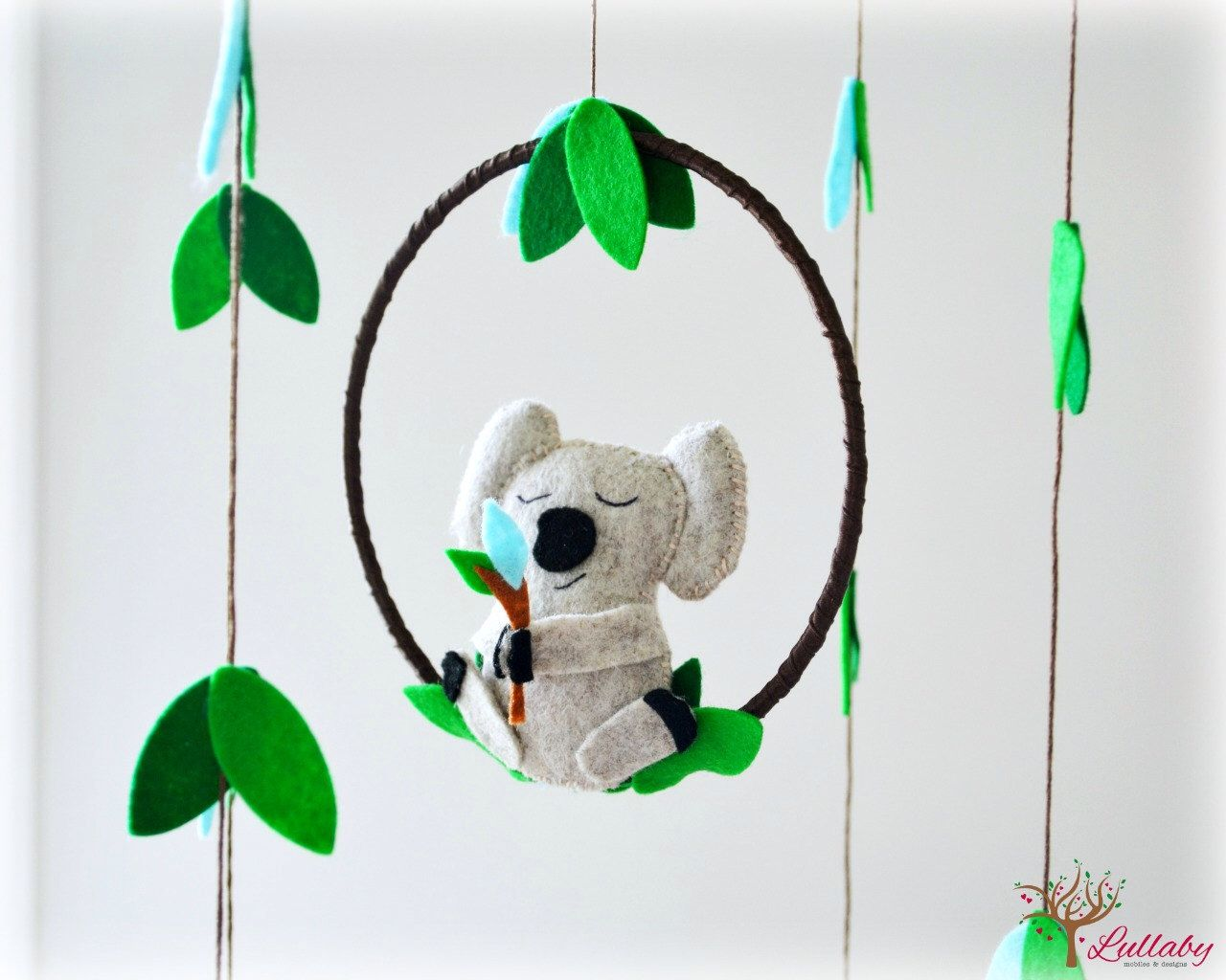Koala Mobile   Australian   Nursery Baby Mobile   Felt Green, Aqua, Heather  Beige