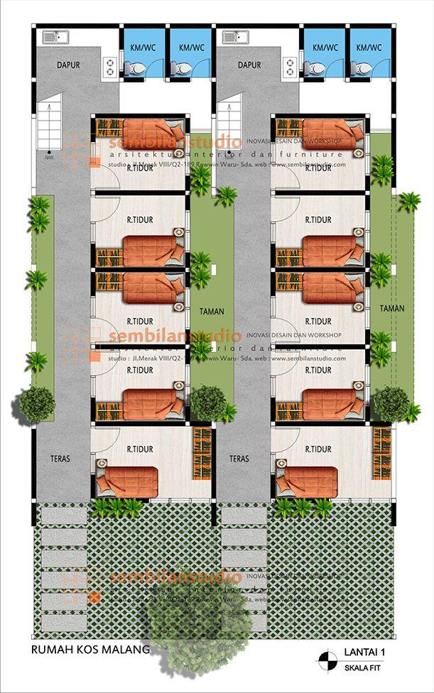 Denah 2 Blok Rumah Kos Yang Berdempetan Namun Terkesan Lebih Luas