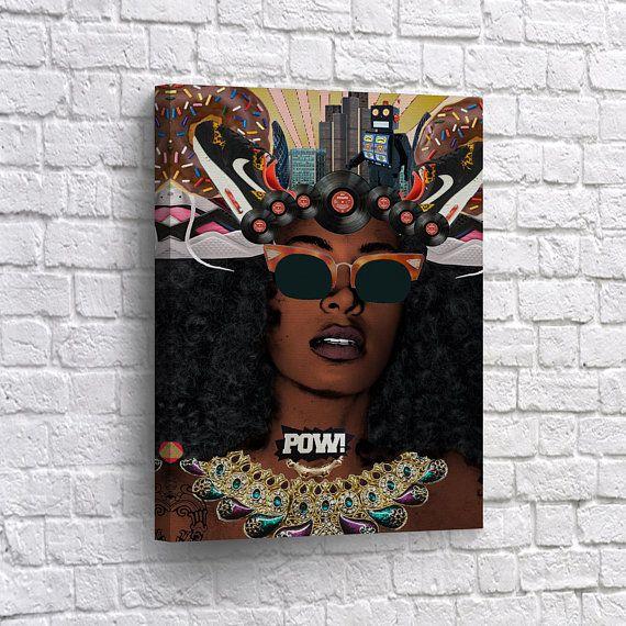 African American Wall Art Canvas Print Woman Beauty Pop Art