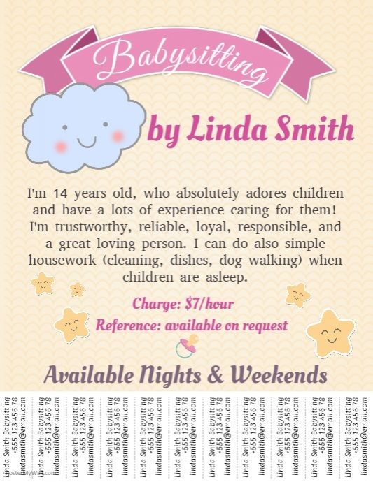 babysitting poster template - create amazing flyers for your babysitting business by