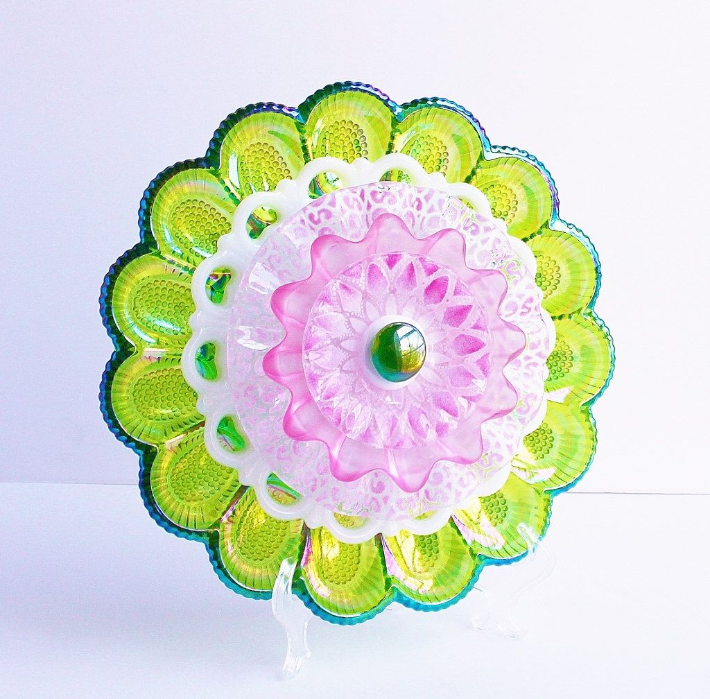 Green and Pink Recycled Vintage Glass Plate Flower Summer Garden ...