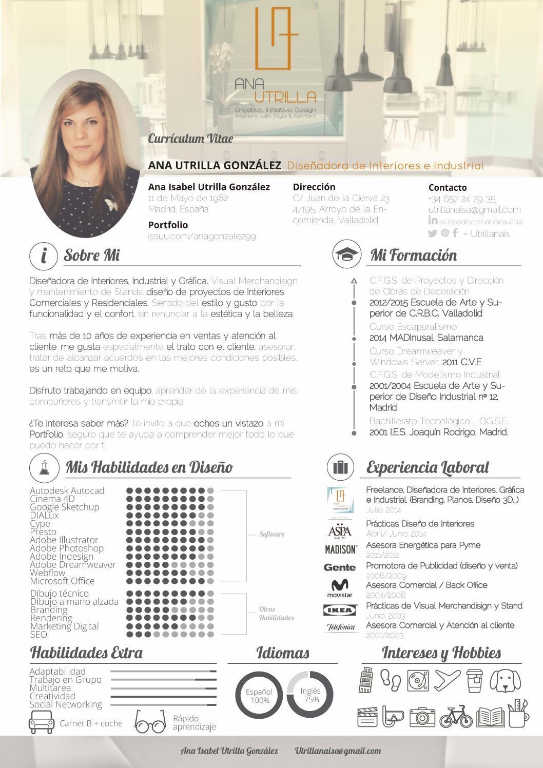 CV Ana Utrilla González Currículum Vitae de Ana Utrilla Interior and ...