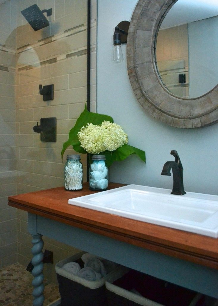 Library table makeover to bathroom vanity using Fat chalk paint