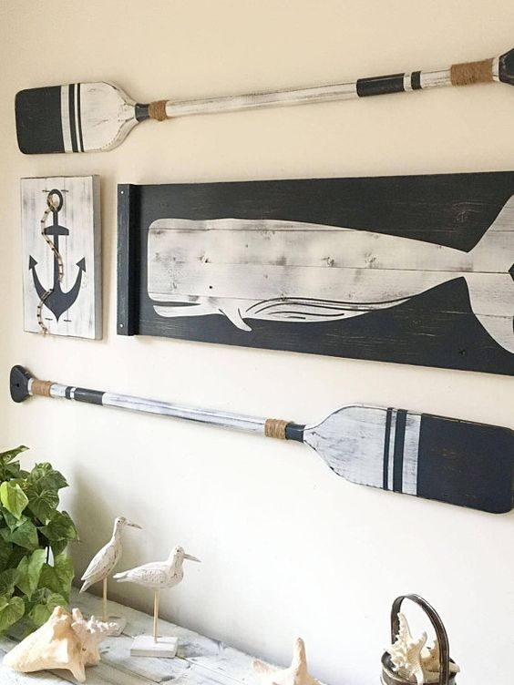 Photo of Large, NAUTICAL ART SET, 4 pc. set, rustic beach house decor, Wood Nautical Decor, Oar decor, Whale decor, Nautical decor, Nautical nursery