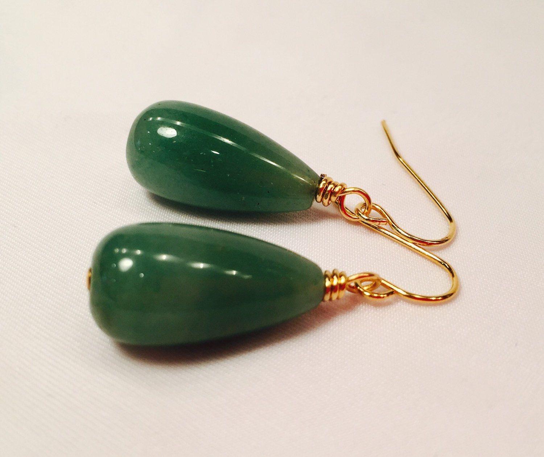 EARRINGS beautiful Green Aventurine Drop Stone Classic Simple ...