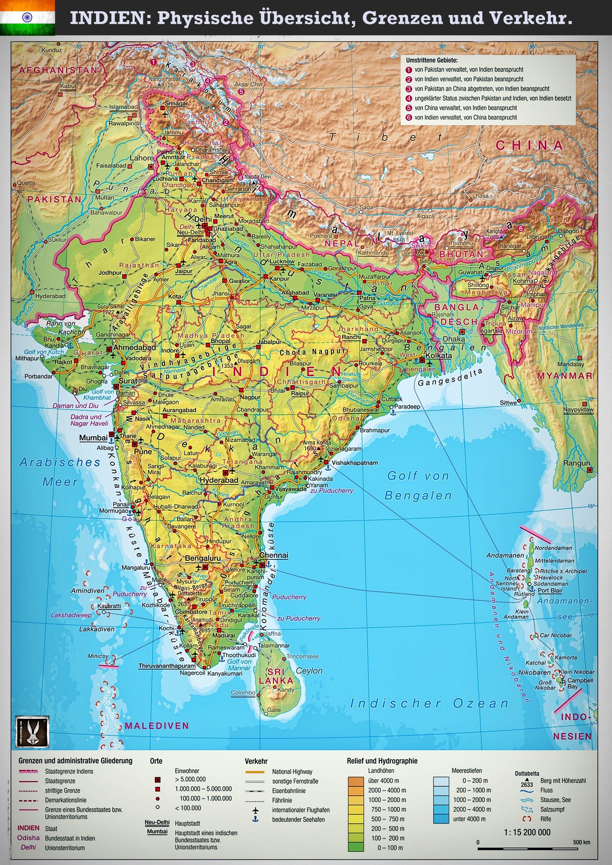 Indien Physische Karte Grenzen Und Verkehrswege Indien Inde