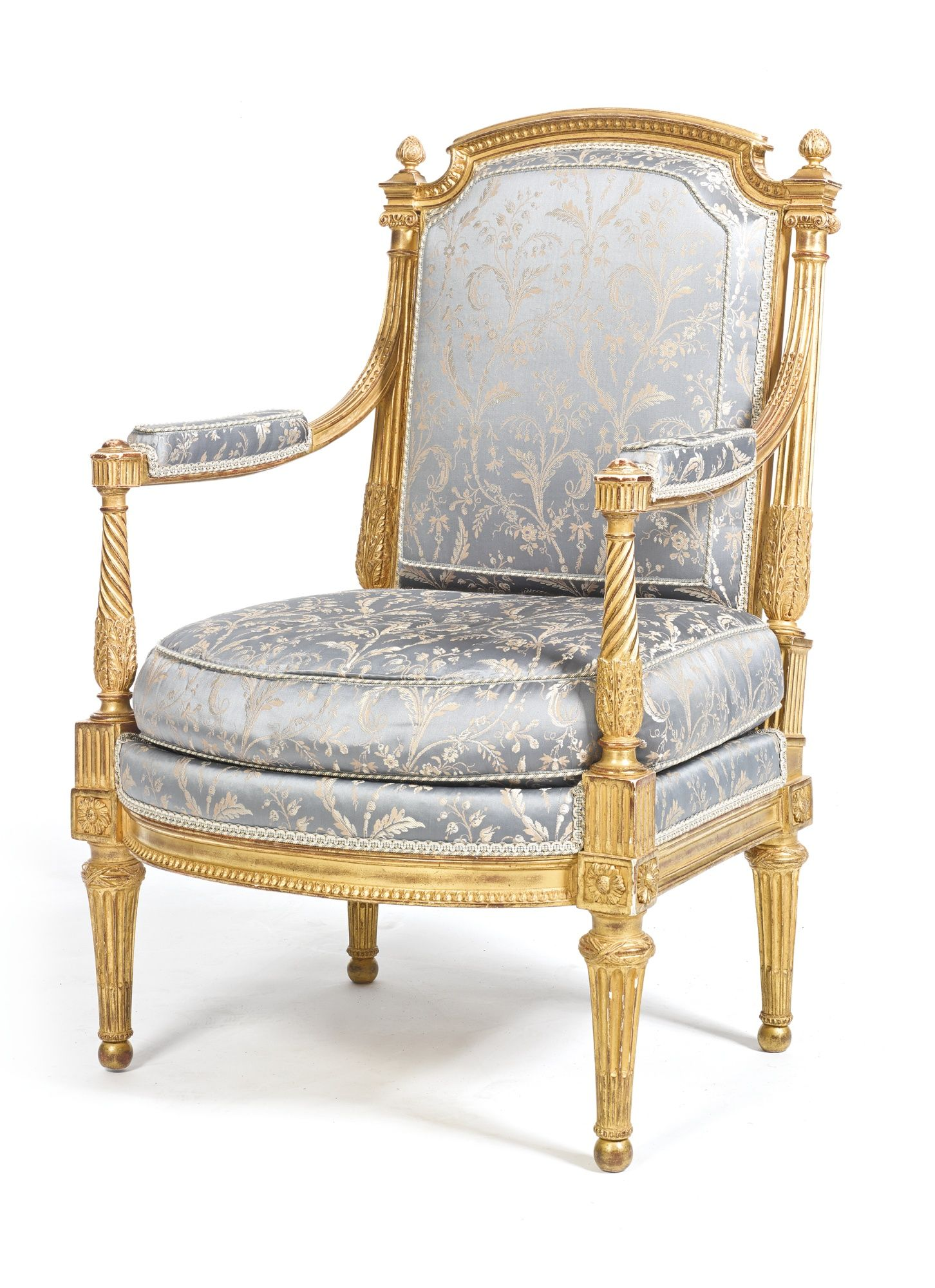 A Louis XVI carved giltwood fauteuil attributed to Georges Jacob ...