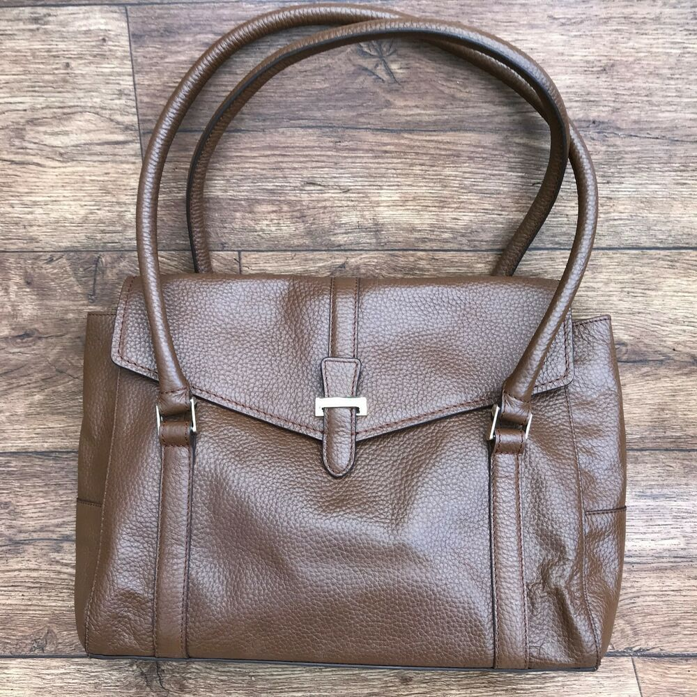 MARKS SPENCER MS COLLECTION BROWN LEATHER DOUBLE BAR TOTE