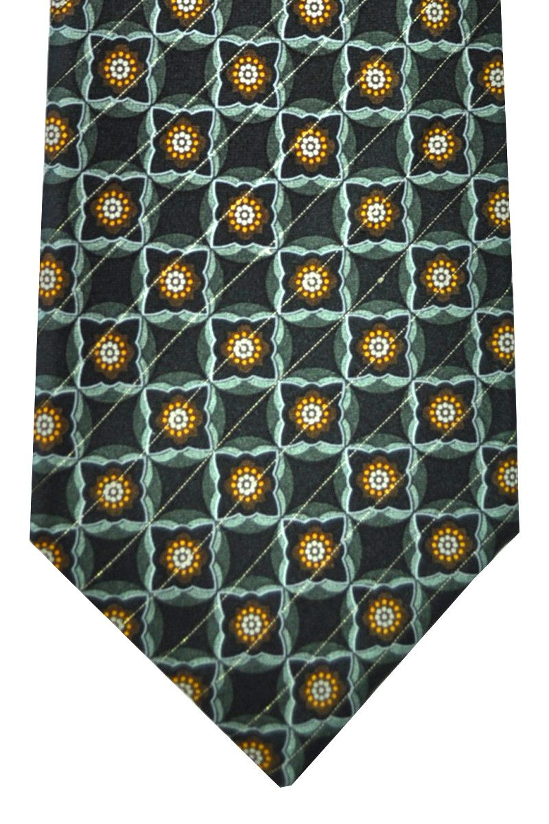 Jacquard silk Canali tie with Gray, Brown, Silver Geometric design, made in Italy. Genuine Canali men collection, classic men neckties.