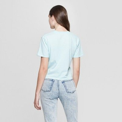 2a2c5f2176e Women s Short Sleeve Less Bitter More Glitter Cropped Graphic T-Shirt -  Mighty Fine (Juniors ) Mint Green L