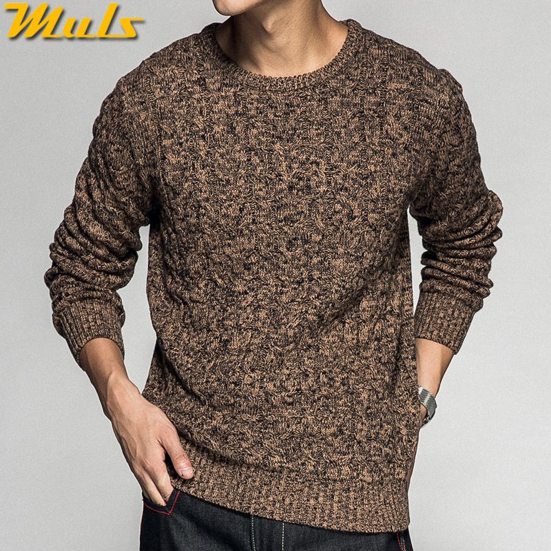 c4ff91ad2 Colored Wool Thick Twist Sweater Pullovers Men 2018 Autumn Winter ...